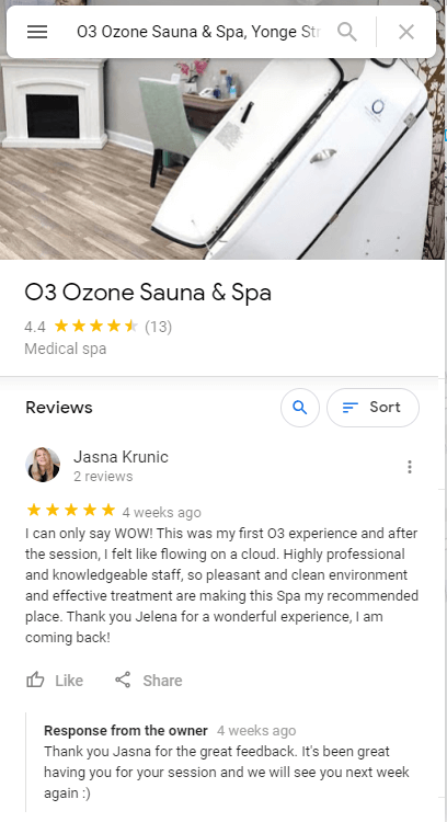 Image showing 4.4 Google Reviews rating of O3 Ozone Sauna & Spa on Google My Business app