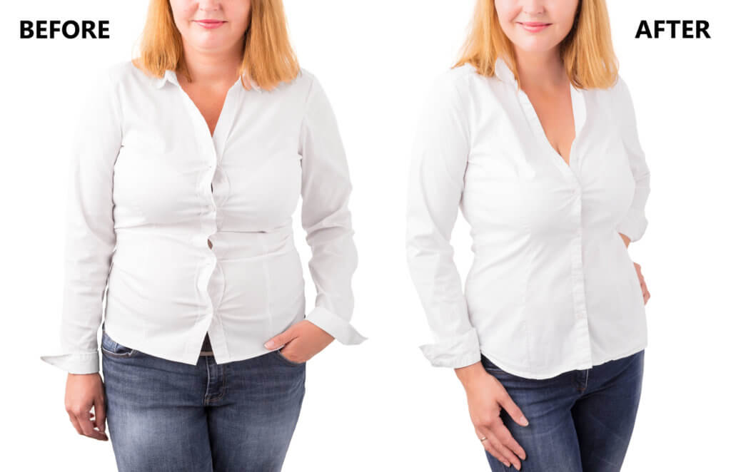 Photo comparison blonde woman in white blouse blue jeans on the left versus same blonde hair white blouse blue jeans women on the right after weight loss